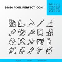 set of Brushes and painting vector line icon set