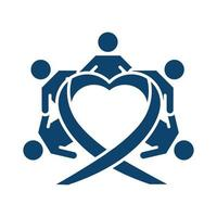 childrens holding hands around heart silhouette icon vector