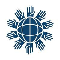 hands around planet help silhouette icon vector