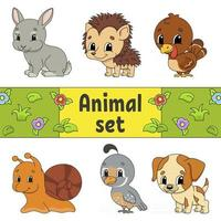 Set of stickers with cute cartoon characters. Animal clipart. Hand drawn. Colorful pack. Vector illustration. Patch badges collection. Label design elements. For daily planner, organizer, diary.