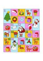 calendario de adviento navideño con personajes lindos. santa claus, ciervo, muñeco de nieve, abeto, copo de nieve, regalo, chuchería, calcetín. estilo de dibujos animados. con los números del 1 al 25. ilustración vectorial. preparación de vacaciones. vector