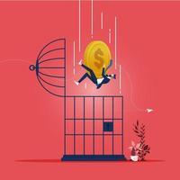 Concepto de crisis financiera empresarial con monedas de oro cayendo en una jaula de pájaros vector