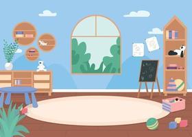 Kindergarten classroom flat color vector illustration
