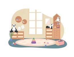 Kindergarten playroom with no people 2D vector web banner
