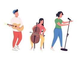 Music band performance flat color vector faceless characters