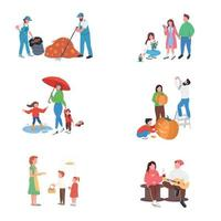 City autumn people flat color vector faceless character set