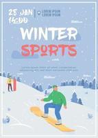 Winter sport poster flat vector template