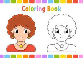 Coloring book for kids. Cartoon character. Vector illustration. Fantasy page for children. Black contour silhouette. Isolated on white background.