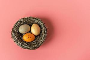 Easter eggs in a natural nest with bird eggs on a pink background. View from above photo