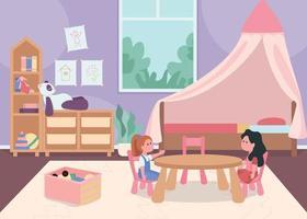 Child bedroom for female toddler flat color vector illustration