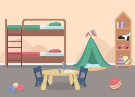 Child bedroom for male toddler flat color vector illustration