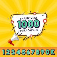Thank you followers congratulation banner a large number of subscribers vector