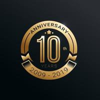Anniversary golden badge 10 years with gold style vector design
