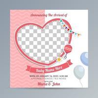 Birth newborn baby announcement greeting card vector