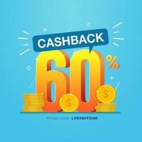Cashback banner design concept for saving and refund money vector