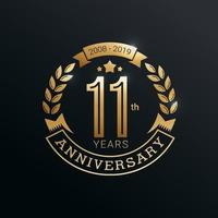 Anniversary golden badge 11 years with gold style vector design