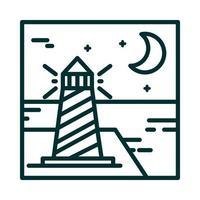 landscape lighthouse ocean moon night sky cartoon line icon style vector