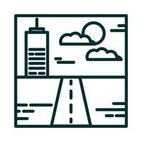 landscape urban building street sky clouds sun cartoon line icon style vector