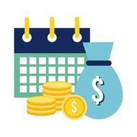 calendar reminder with coins dollars flat style icon vector