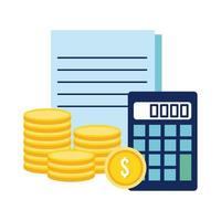 calculator with coins and documents flat style icon vector