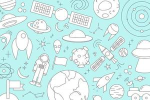 Modern pattern of planet star comet with different rockets Universe line drawings Cosmos vector