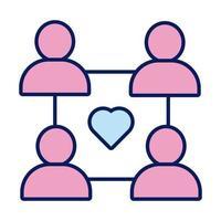 Figuras humanas con línea de solidaridad de corazón y estilo de relleno. vector