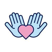 manos, elevación humana, corazón, solidaridad, línea, y, relleno, estilo vector