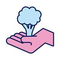 mano que levanta la línea de solidaridad del árbol y el estilo de relleno vector