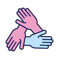manos, solidaridad humana, línea, y, relleno, estilo vector