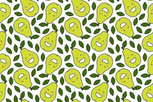 Happy kawaii fruits prints for kids Cute seamless pattern with smiley pears in cartoon style vector