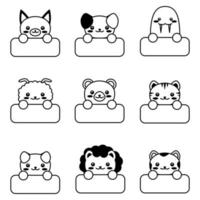 Doodle cartoon style Funny baby kids print  Kawaii animal vector