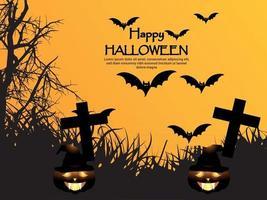 Happy halloween vector illustration of glowing pumpkin