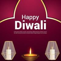 Diwali festival of india celebration greeting card with vector illustration