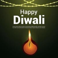 Happy diwali indian festival celebration greeting card vector
