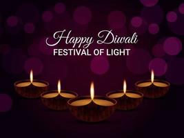 Happy diwali the festival of light greeting card vector