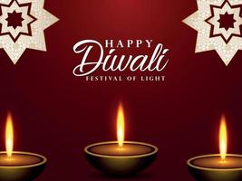 Happy diwali celebration greeting card with vector illustration of diwali diya