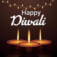 Indian festival of happy diwali the festival of light celebration card vector
