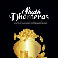 Shubh dhanteras indian traditional festival with gold coin pot vector