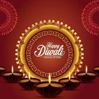 Indian traditional festival happy diwali celebration greeting card with vector illustration