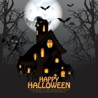 Happy halloween party card with haunted house full moon and glowing pumpkin vector