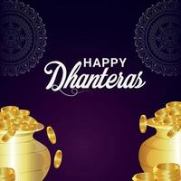 Happy dhanteras indian festival celebration greeting card with gold coin pot on purple background vector