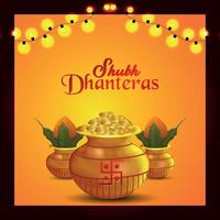 Shubh dhanteras celebration greeting card with gold coin and kalash vector