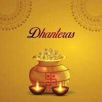 Indian festival happy dhanteras celebration greeting card with gold coin pot on yellow background vector