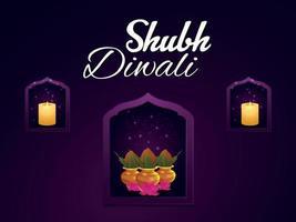 Shubh diwali celebration greeting card with kalash on purple background vector