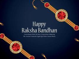 Happy raksha bandhan festival of india celebration greeting card with crystal and golden rakhi vector