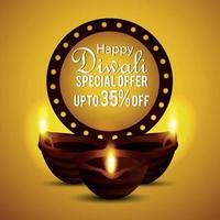 Happy diwali sale greeting card with diwali diya vector