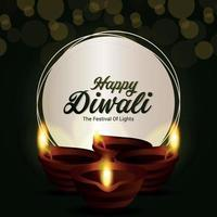 Creative vector illustration of happy diwali indian festival the festival of light greeting card