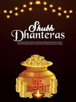 Shubh dhanteras celebration flyer with creative gold coin pot vector
