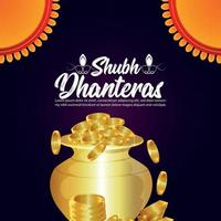 Creative illustration of happy rdhanteras celebration greeting card with gold coin pot vector
