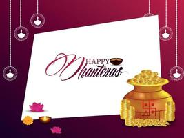 Happy dhanteras celebration greeting card with gold coin pot vector
